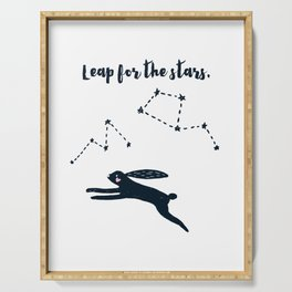 Leap for the Stars - Black Rabbit Serving Tray