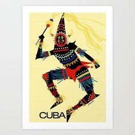 Vintage Cuba Costumed Dancer Travel Art Print
