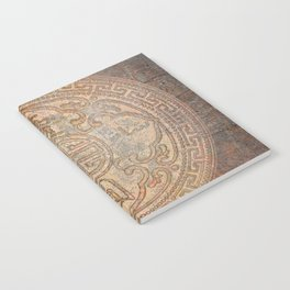 Antic Chinese Coin on Distressed Metallic Background Notebook