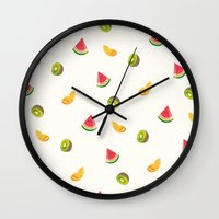 fruits Wall Clocks featuring Fruits by Carolin Vogt