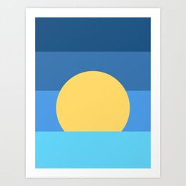Sunset Over Waves | Blue Art Print