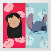 lilo and stitch Canvas Prints featuring Lilo & Stitch by Raquel Segal