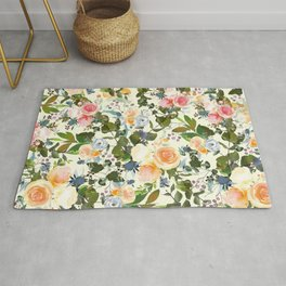 Country chic ivory forest green orange pink watercolor floral Rug