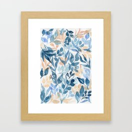 Watercolor leaves and floral pattern Framed Art Print