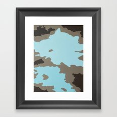 Aqua and Brown Abstract Framed Art Print