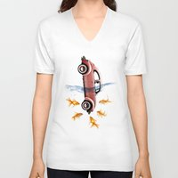vw V-neck T-shirts featuring VW beetle and goldfish by Vin Zzep