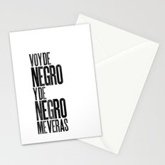 Voy de negro — Letterpress (White) Stationery Cards