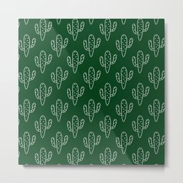 Modern hand painted forest green white cactus floral Metal Print