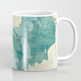 Michigan State Map Blue Vintage Coffee Mug