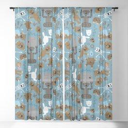 Crazy MonkeyTeddyBears Pattern Sheer Curtain
