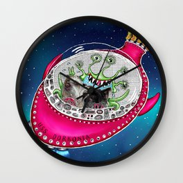 Chinese Crested Hairless Dogs in Space  Wall Clock