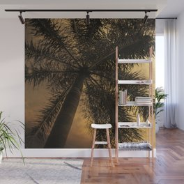 Yellow Sunset Palm Tree Photography | Golden Sky | Beach Vibes Wall Mural