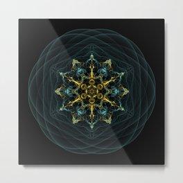 Sacred Geometry Waves Mandala Metal Print