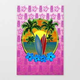 Pink Tikis Sunset And Surfboards Canvas Print