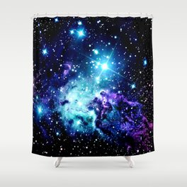 Fox Fur Nebula Turquoise Blue Purple Black Shower Curtain
