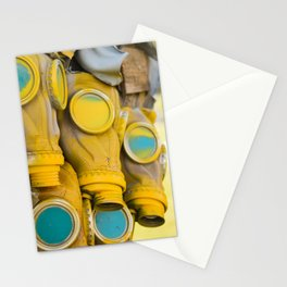 Yellow gas mask Stationery Cards