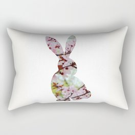 bunny rabbit silhouette floral looking back Rectangular Pillow
