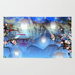 White lanterns with cherry blossom and mountain temple Rug