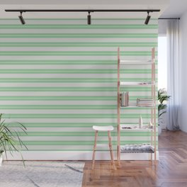 Linen White Line Pattern 1 on Pastel Green Pairs to 2020 Color of the Year Neo Mint Wall Mural