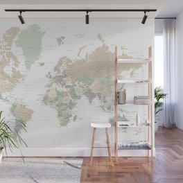 """World map with cities, """"Anouk"""" Wall Mural"""