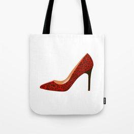 Red Leopard Print High Heel Shoe Tote Bag