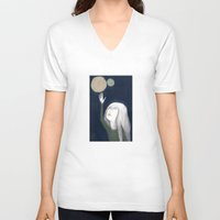 murakami V-neck T-shirts featuring two moons by martina troise