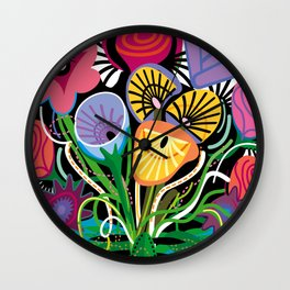 Flamenco Tequila Floral Arrangement Wall Clock