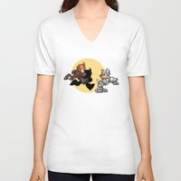 tintin V-neck T-shirts featuring Mega TinTin Man by 84Nerd