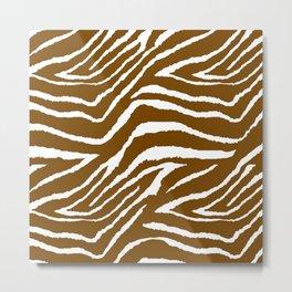 Zebra Brown and White Metal Print