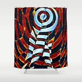 7023-LB Interdimensional Target of Love Abstract Booty Up Shower Curtain
