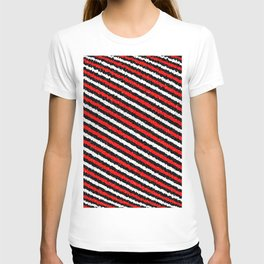 Jiggly Speckled Red Black and White Diagonal Pattern T-shirt