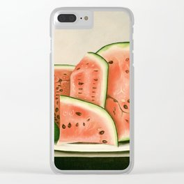 Watermelon on a Plate Painting Clear iPhone Case