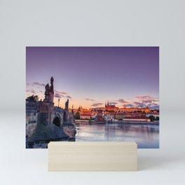 Scenic view on Vltava river and historical center of Prague. Mini Art Print