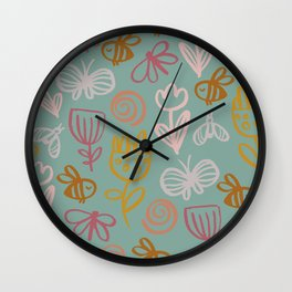Bee with Flowers Wall Clock