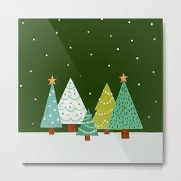 Holly Jolly Christmas Trees - Green Metal Print