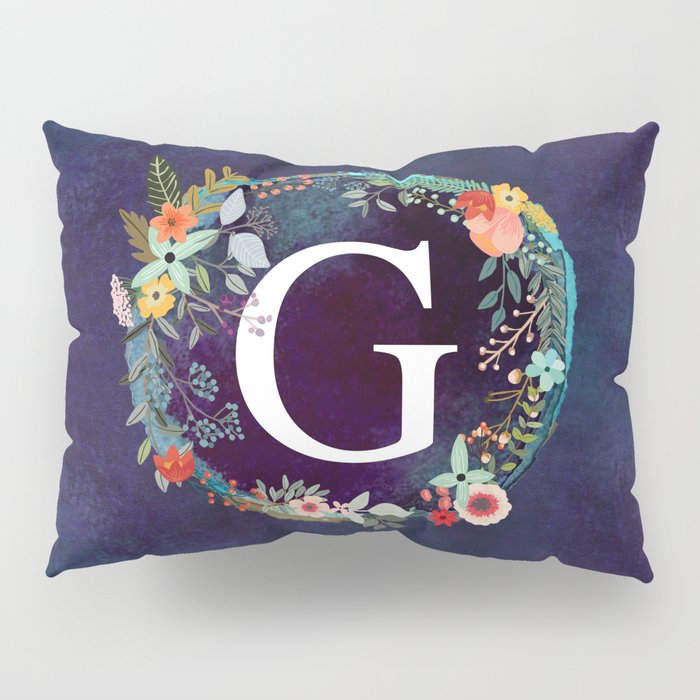 Personalized Monogram Initial Letter G Floral Wreath Artwork Pillow Sham