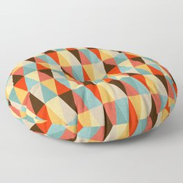 Red & Brown Geometric Triangle Pattern Floor Pillow
