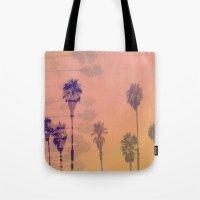 santa monica Tote Bags featuring Santa Monica Palms by Nina May Designs