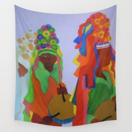 Festa do Rosario, Colorful Art, Brazil, Parade, Headdress and Drums Wall Tapestry