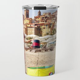 Young boy playing on a beach in French Riviera Travel Mug