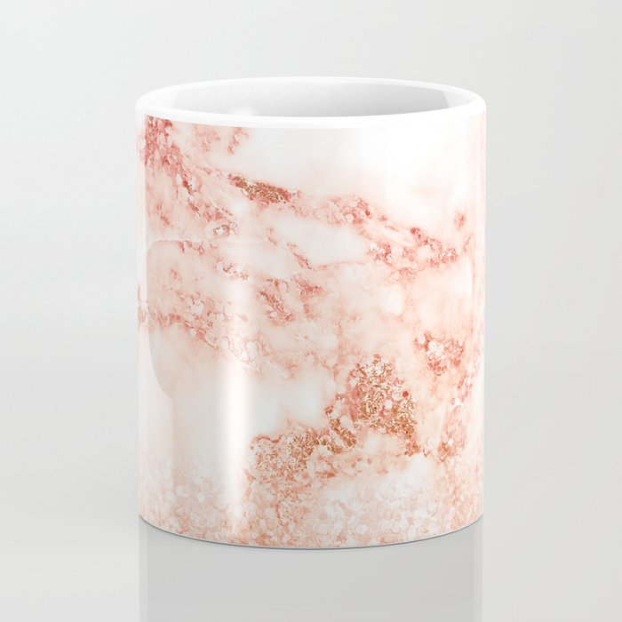 Sparkly Peach Copper Rose Gold Ombre Bohemian Marble Coffee Mug