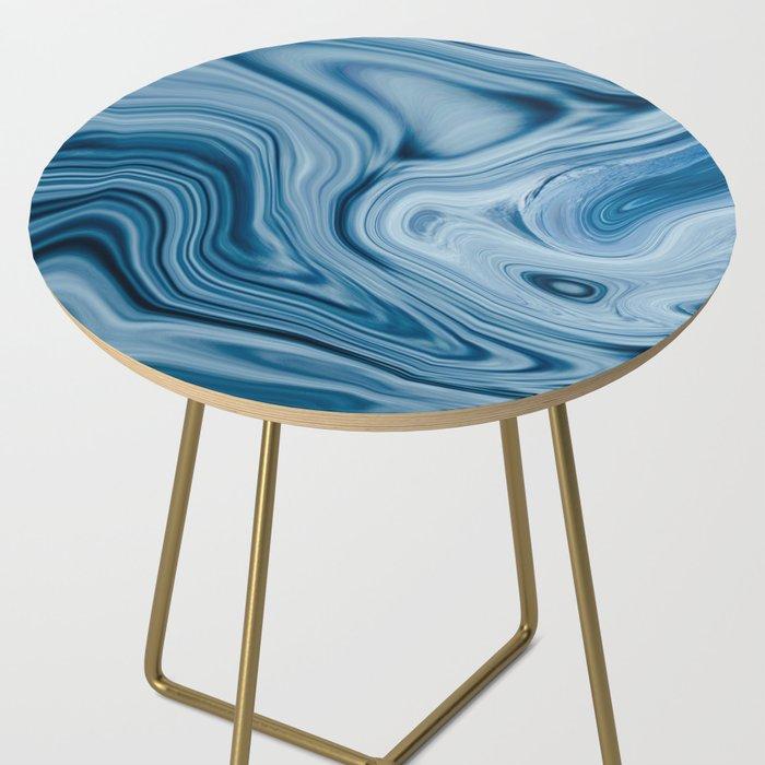 Splash of Blue Swirls, Digital Fluid Art Graphic Design Side Table