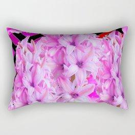 WESTERN BLACK-RED  PURPLISH-PINK ROSES & HYACINTHS Rectangular Pillow