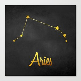 Aries Constellation in gold Canvas Print