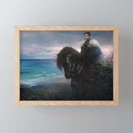 Knight on black Friesian horse Framed Mini Art Print