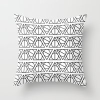 deathly hallows Throw Pillows featuring Deathly Hallows by bookotter