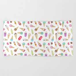 Scattered Ice Creams and Ice Lollies Beach Towel