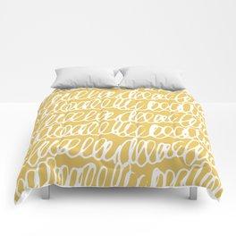 Doodles Waves Yellow Comforters