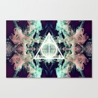 deathly hallows Canvas Prints featuring Deathly Hallows by Christine DeLong Creative Studio