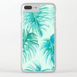 Paradise Palms Mint Clear iPhone Case
